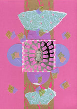 Load image into Gallery viewer, Pink, Lilac And Green Mint Mixed Media Collage On Paper - Naomi Vona Art