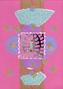 Pink, Lilac And Green Mint Mixed Media Collage On Paper - Naomi Vona Art