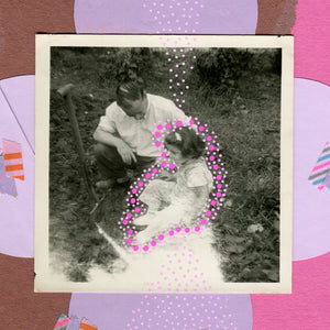Father Daughter Vintage Photo Mixed Media Collage Artwork On Paper - Naomi Vona Art