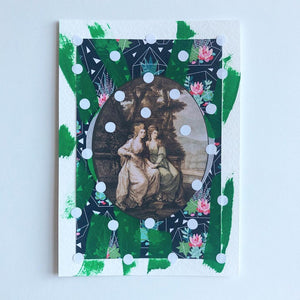 Vintage Photo Of Women Holding Hands Paper Collage Art - Naomi Vona Art