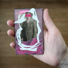 Load image into Gallery viewer, Acid Pink And White Contemporary Art Collage On Vintage Portrait - Naomi Vona Art