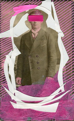 Acid Pink And White Contemporary Art Collage On Vintage Portrait - Naomi Vona Art