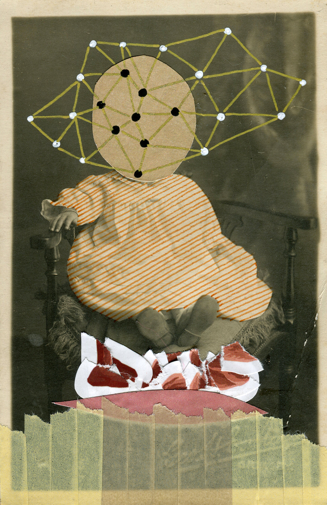 Dadaist Collage Over Baby Portrait Photo - Naomi Vona Art