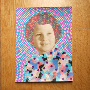 Vintage Baby Girl Art Collage Altered With Pens And Washi Tape - Naomi Vona Art