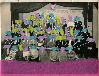 Contemporary Art Collage Created Over A Vintage Group Portrait - Naomi Vona Art