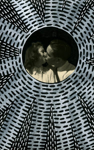 Couple Kissing Vintage Portrait Photo Altered By Hand - Naomi Vona Art