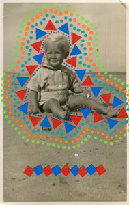 Contemporary Collage On Vintage Baby Boy At The Beach - Naomi Vona Art