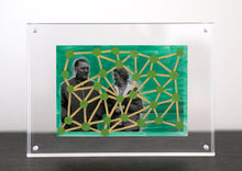 Load image into Gallery viewer, Green And Yellow Art On Vintage Couple Photo - Naomi Vona Art
