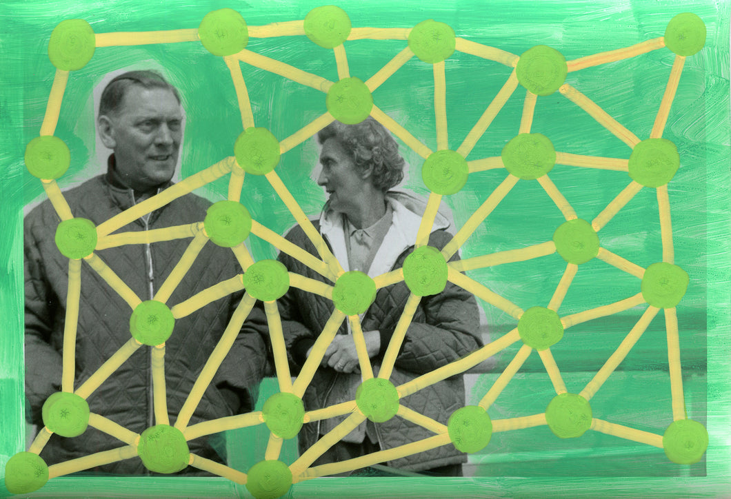Green And Yellow Art On Vintage Couple Photo - Naomi Vona Art