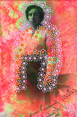 Neon Red, Pink And Orange Vintage Photo Transfer On Canvas - Naomi Vona Art