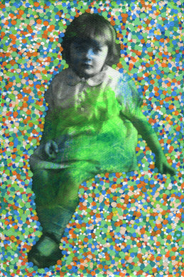 Confetti Decoration Art Collage On Vintage Baby Girl Photo - Naomi Vona Art