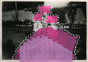 Neon Pink, Lilac And Purple Art Collage On Vintage Portrait - Naomi Vona Art
