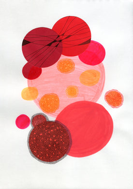 Red Abstract Art Composition Collage - Naomi Vona Art