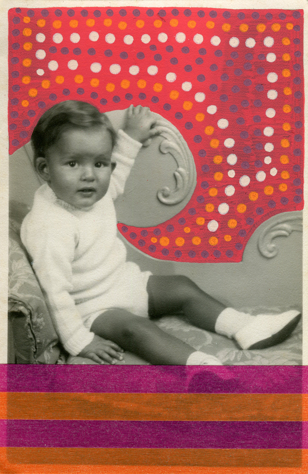 Vintage Baby Boy Portrait Photo Altered With Tape And Pens - Naomi Vona Art