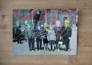 Vintage Classic Family Portrait Altered With Pens - Naomi Vona Art