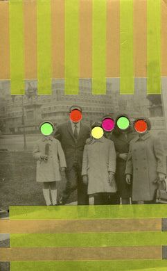 Vintage Family Portrait Photo Altered With Neon Colours - Naomi Vona Art