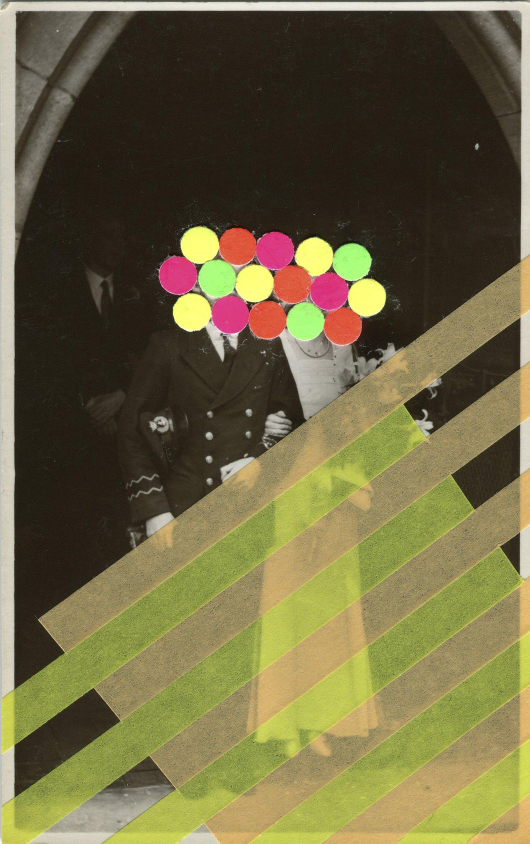 Classic Vintage Wedding Couple Portrait Photo Altered With Neon Shades - Naomi Vona Art