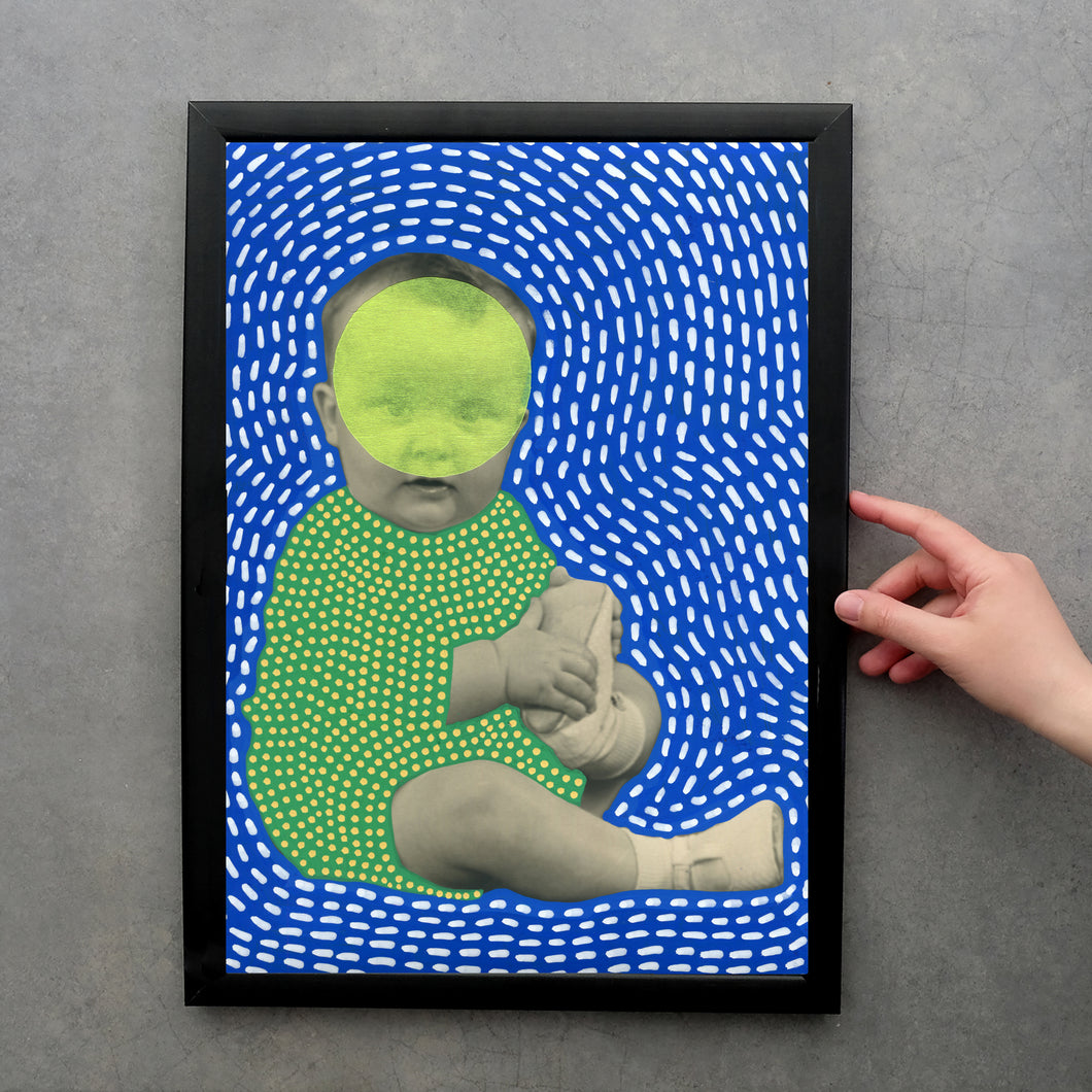 Funny Vintage Baby Photography Altered With Pens And Washi Tape - Naomi Vona Art