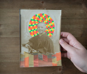 Baby Boy Vintage Portait Picture Altered By Hand - Naomi Vona Art