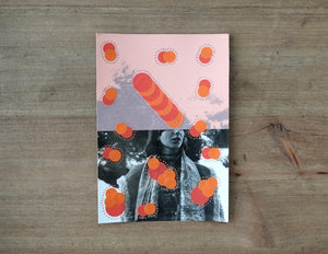 Salmon Pink And Red Contemporary Art Collage - Naomi Vona Art