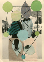 Carica l'immagine nel visualizzatore di Gallery, Green Beige Abstract Collage Composition On Vintage Portrait - Naomi Vona Art
