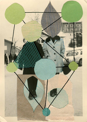 Green Beige Abstract Collage Composition On Vintage Portrait - Naomi Vona Art