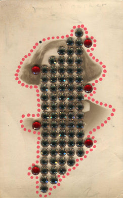 Beads Decoration Art Collage On Vintage Woman Photo - Naomi Vona Art