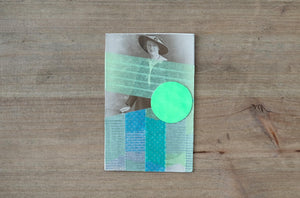 Neon Green And Light Blue Contemporary Art Collage On Vintage Woman Portrait - Naomi Vona Art
