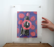 Load image into Gallery viewer, Neon Pink And Purple Nude Woman Vintage Portrait Photo Altered With Pens - Naomi Vona Art