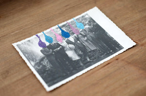 Retro Group Portrait Photography Altered With Pens - Naomi Vona Art