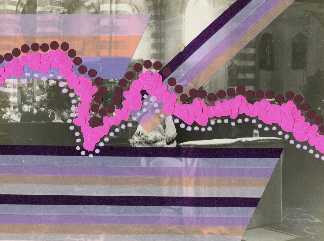 Pink And Purple Abstract Collage Art On Vintage Wedding Photography - Naomi Vona Art