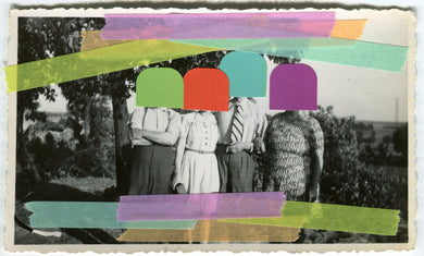 Retro Group Photo Altered With Tape And Stickers - Naomi Vona Art