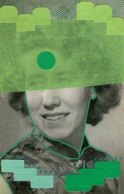 Green Collage On Vintage Woman Portrait - Naomi Vona Art