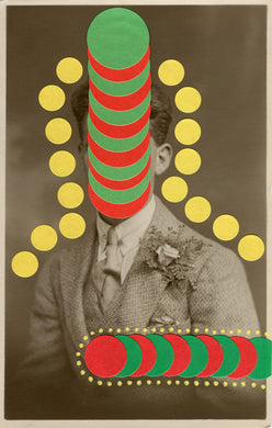 Funny Yellow, Red And Green Art Collage On Vintage Studio Portrait Photo - Naomi Vona Art