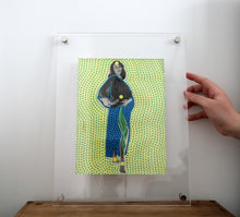 Load image into Gallery viewer, Neon Yellow, Green And Blue Art On Woman Nude Portait Photo - Naomi Vona Art