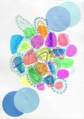 Neon Abstract Underwater Inspired Art Collage - Naomi Vona Art