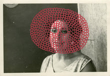 Load image into Gallery viewer, Red Crochet Mask Decoration Art On Vintage Woman Portrait - Naomi Vona Art