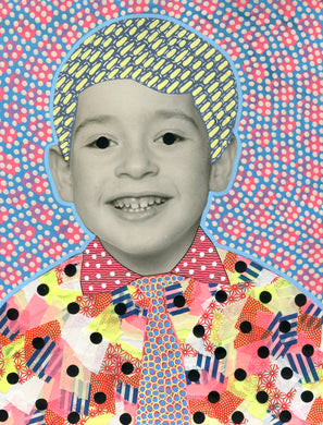 Vintage Smiling Baby Boy With Tie Portrait Altered By Hand - Naomi Vona Art