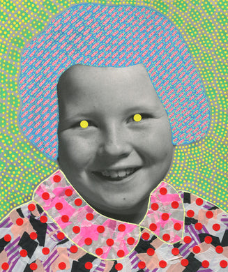 Retro Smiling Girl Portrait Photo Collage Art - Naomi Vona Art