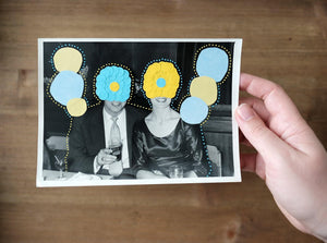 Baby Blue And Pastel Yellow Collage On Vintage Photo - Naomi Vona Art
