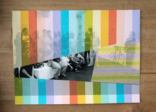 Load image into Gallery viewer, Rainbow Striped Art Collage On Vintage Group Shot - Naomi Vona Art
