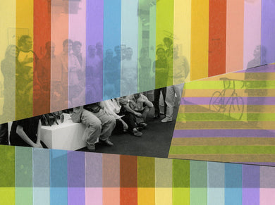 Rainbow Striped Art Collage On Vintage Group Shot - Naomi Vona Art