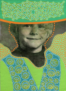 Boy Portrait Vintage Art Collage On Canvas - Naomi Vona Art