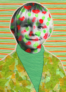 Green Orange Photo Transfer On Canvas Portrait - Naomi Vona Art