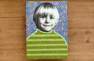 Retro Smiling Baby Boy Portrait Art On Canvas - Naomi Vona Art