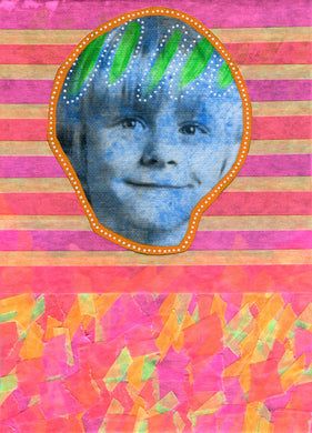 Neon Art Collage Of Vintage Baby Boy Photography - Naomi Vona Art
