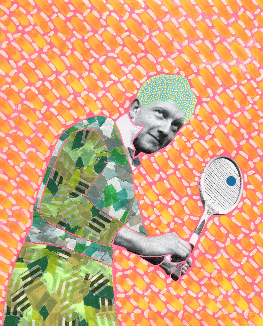Original Old Fashioned Tennis Photo Altered By Hand - Naomi Vona Art