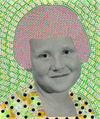 Neon Green Collage Art On Vintage Portrait - Naomi Vona Art