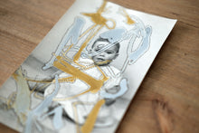 Load image into Gallery viewer, Golden And Silver Doodles On Vintage Baby Portrait - Naomi Vona Art