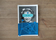 Load image into Gallery viewer, Contemporary Blue Art Collage On Vintage Smiling Baby Girl Photo - Naomi Vona Art